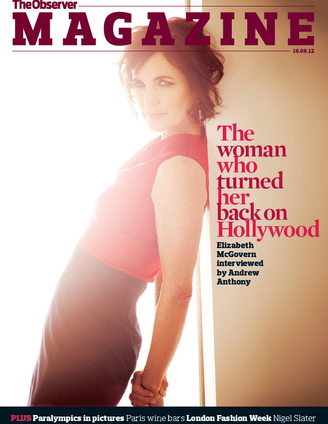 LEE STRICKLAND PHOTOGRAPHS ACTRESS ELIZABETH MCGOVERN FOR OBSERVER MAGAZINE COVER STORY