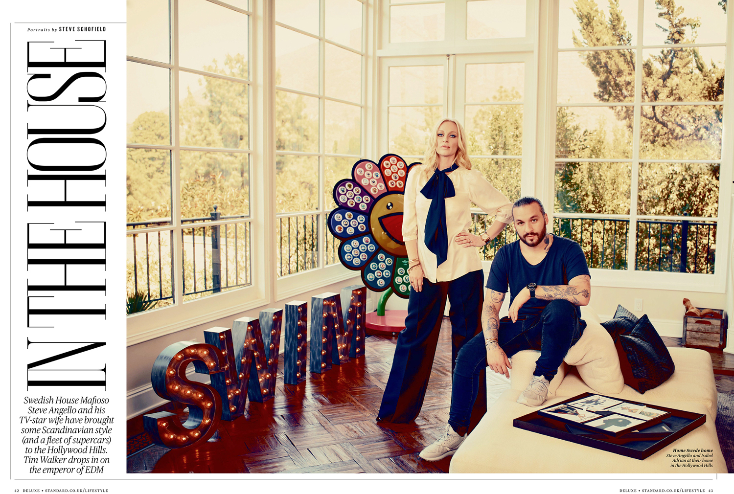 Steve Schofield shoots DJ Steve Angello and wife Isabel Adrian for ES Magazine at their home in the Hollywood Hills, that used to belong to Marlene Deitrich.. Isabel is appearing in the reality TV show 'The Euros of Hollywood.