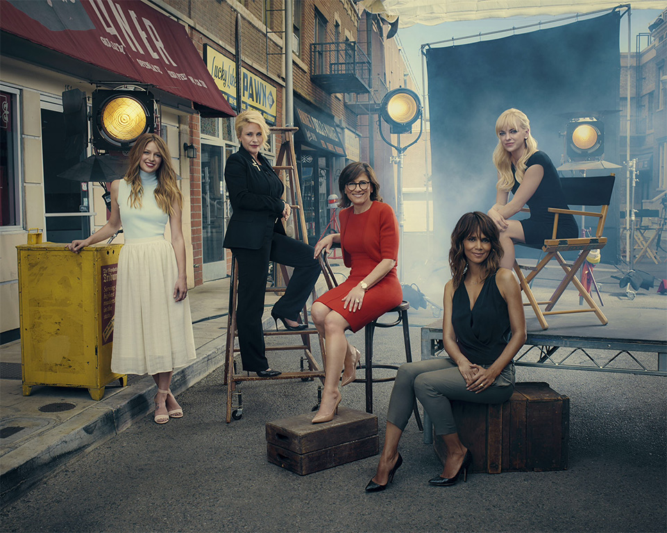 Steve Schofield photographed Halle Berry, Patricia Arquette, Anna Farris, Nina Tassler & Melissa Benoist for 'Hollywood Reporter Magazine'....the women of CBS. It was photographed in LA the same street 'Seinfeld' was filmed in the 90's