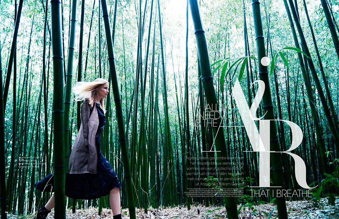A bamboo forest in South Korea is the perfect location for the wonderful editorial shot by William Garrett for the September issue of Jan Magazine. Styling by Ramona Da Cruz Lopes and Hair&Makeup by Judith Neyes.
