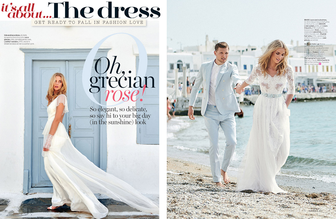 A dream honeymoon in Mykonos featured in the upcoming edition of Brides Magazine shot by WilliamGarrett with fashion editor Bryony Toogood and makeup/hair stylist Barrie Griffith